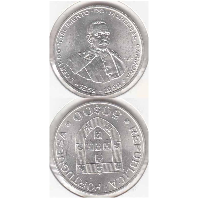 50 Escudos prata 1969 Marechal Carmona Legenda Rebordo A