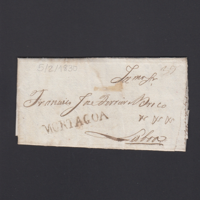 Carta Pré-Filatélica circulada de Mortágua para Lisboa datada 05-02-1830