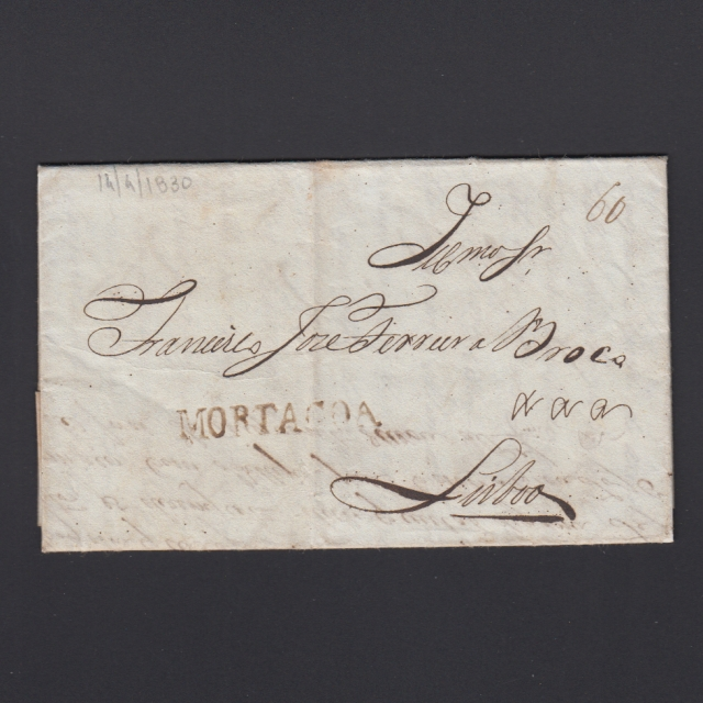 Carta Pré-Filatélica circulada de Mortágua para Lisboa datada 14-04-1830