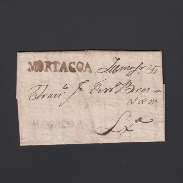 Carta Pré-Filatélica circulada de Mortágua para Lisboa datada 11-06-1830