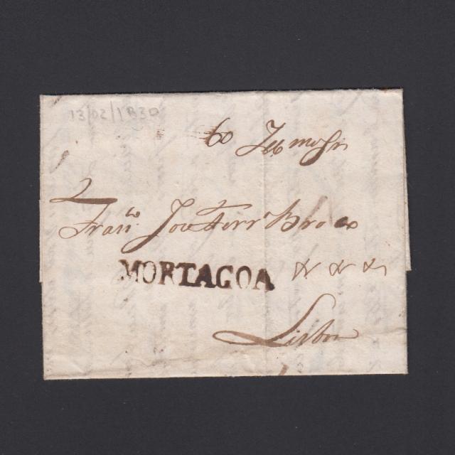 Carta Pré-Filatélica circulada de Mortágua para Lisboa datada 13-12-1830