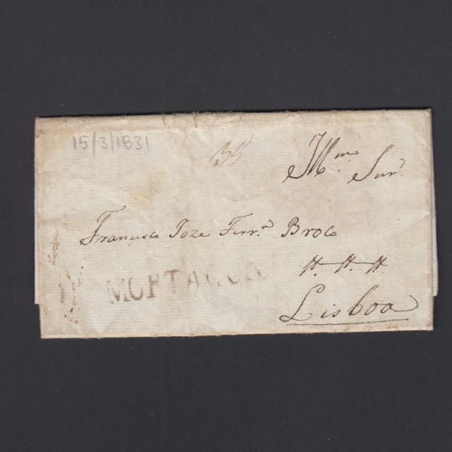 Carta Pré-Filatélica circulada de Mortágua para Lisboa datada 15-03-1831