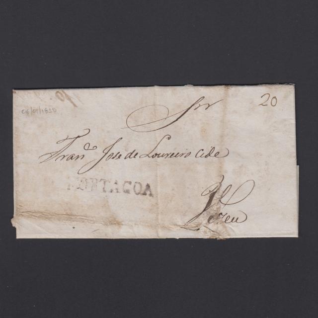 Carta Pré-Filatélica circulada de Mortágua para Viseu datada 06-01-1838