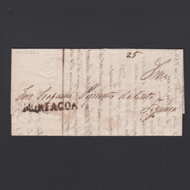Carta Pré-Filatélica circulada de Mortágua para Vale de Remigio datada 29-12-1840