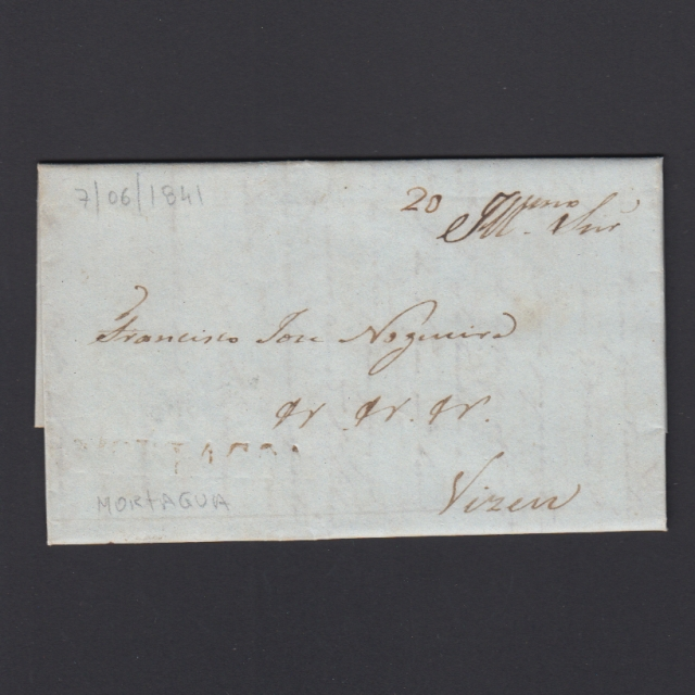 Carta Pré-Filatélica circulada de Mortágua para Viseu datada 07-06-1841