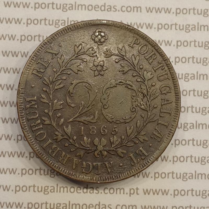 20 REIS COBRE 1865 - AÇORES / VARIANTE LEGENDA COM PONTOS (MBC+)