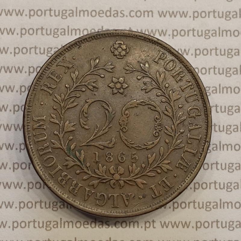 VINTE REIS (20 REIS) COBRE 1865 - AÇORES / VARIANTE LEGENDA COM PONTOS