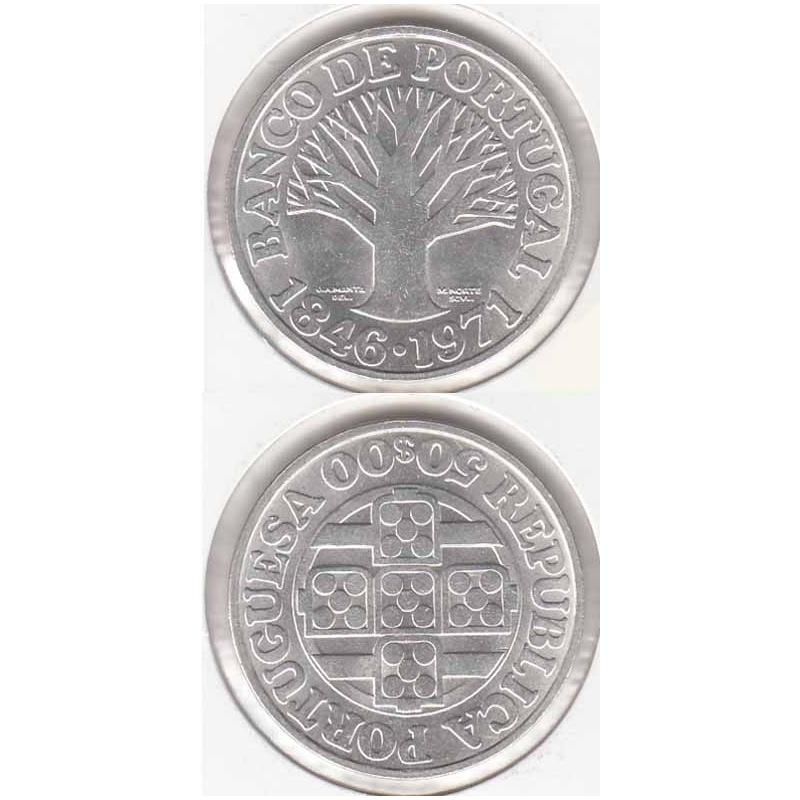 50 Escudos prata 1971 Banco Portugal Legenda Rebordo A