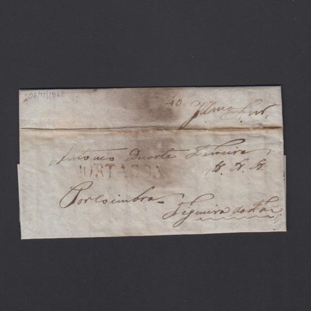 Carta Pré-Filatélica circulada de Mortágua para Figueira da Foz datada 06-11-1842