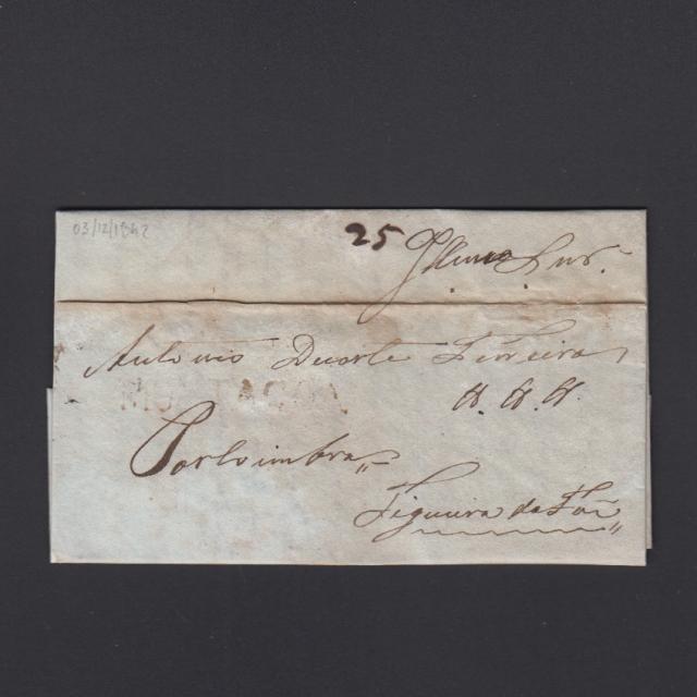Carta Pré-Filatélica circulada de Mortágua para Figueira da Foz datada 03-12-1842