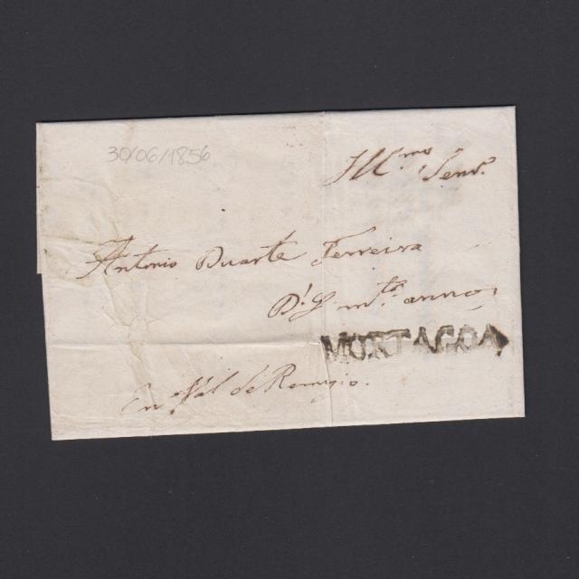 Carta Pré-Filatélica circulada de Mortágua para Vale de Remigio datada 30-06-1856