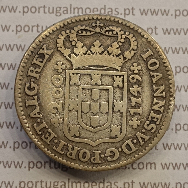 MOEDA 12 VINTÉNS PRATA (240 RÉIS) 1749 - D.JOÃO V