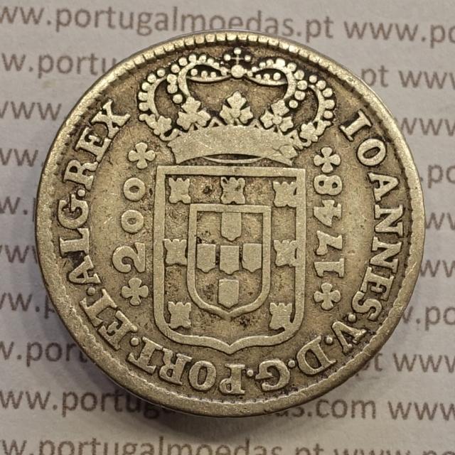 MOEDA DE 12 VINTÉNS (240 RÉIS) 1748 (MBC) COROA COM ARCOS SIMPLES - D. JOÃO V