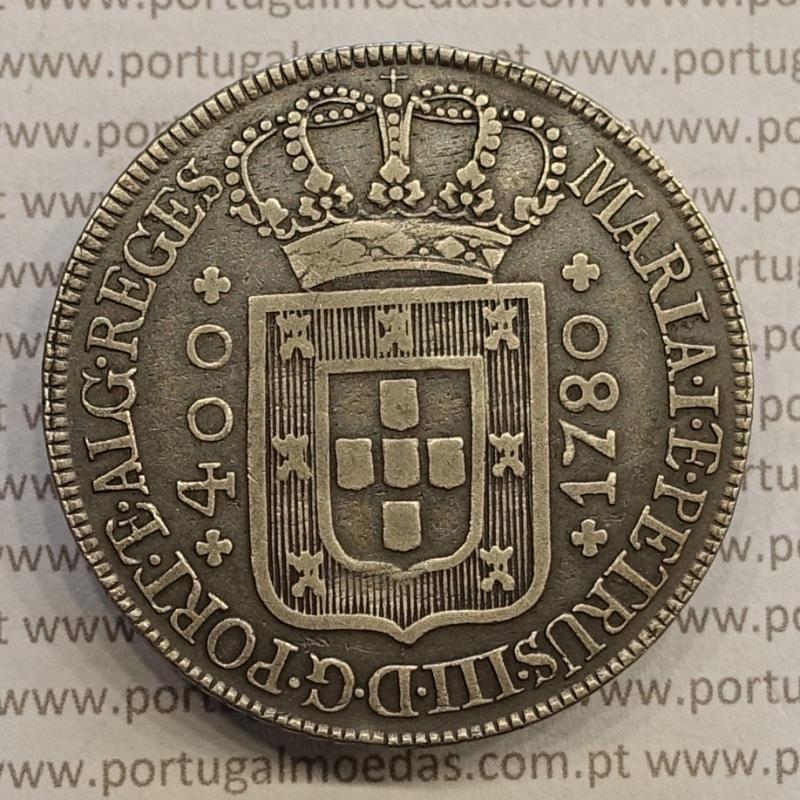 Cruzado Novo Prata 1780 D. Maria I e D. Pedro III, Coroa media, diadema losango 2 pontos, letras ornamentadas e mais juntas
