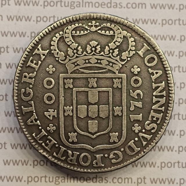 MOEDA CRUZADO NOVO PRATA (480 RÉIS) 1750 - D. JOÃO V - COROA DE 4 ARCOS / LEGENDA DO REVERSO SEPARADA POR FLORÕES