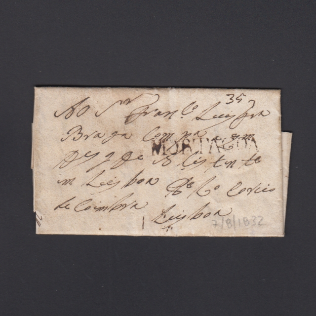 Pré-Filatélica circulada de Mortágua para Lisboa datada 07-08-1832