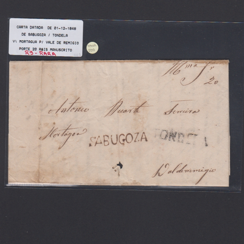 Pré-Filatélica circulada de Sabugoza para Vale Remigio datada 01-12-1848