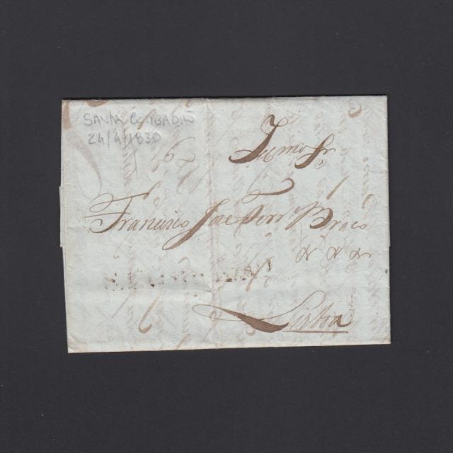 Pré-Filatélica circulada de S. Comba Dão para Lisboa datada 24-04-1830