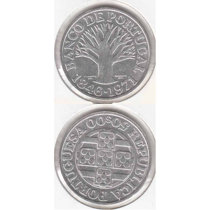 50 Escudos prata 1971 Banco Portugal Legenda Rebordo B