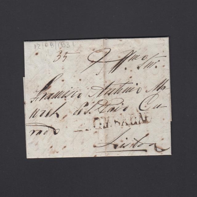 Pré-Filatélica circulada de S. Comba Dão para Lisboa datada 21-08-1831