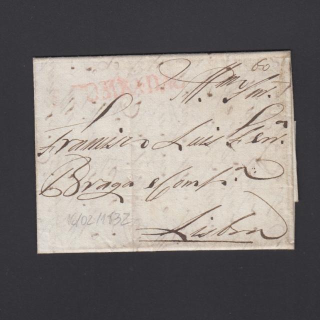 Pré-Filatélica circulada de S. Comba Dão para Lisboa datada 16-02-1832
