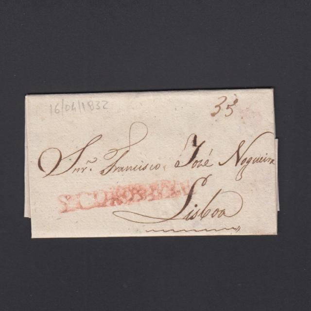Pré-Filatélica circulada de S. Comba Dão para Lisboa datada 16-04-1832