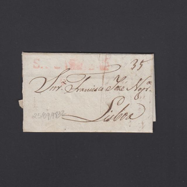 Pré-Filatélica circulada de S. Comba Dão para Lisboa datada 25-09-1832