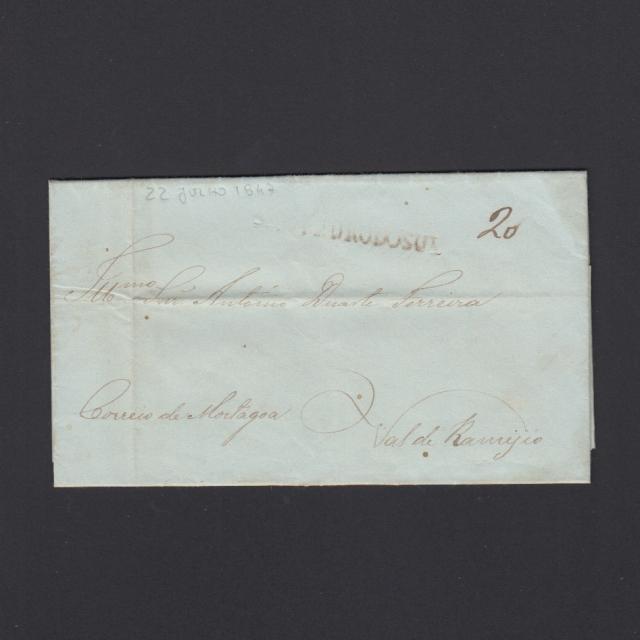 Pré-Filatélica circulada de S. Pedro do Sul para Vale Remigio datada 22-07-1847