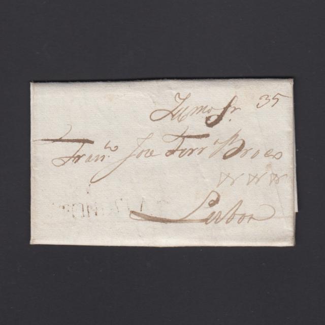 Pré-Filatélica circulada de Tondela para Lisboa datada 10-04-1829