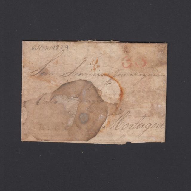 Pré-Filatélica circulada de Tondela para Vale Remigio datada 06-06-1829