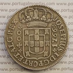 MOEDA CRUZADO NOVO PRATA (480 RÉIS) 1766 COROA COM PEDÚNCULOS E CRUZ PEROLADA - D. JOSÉ I