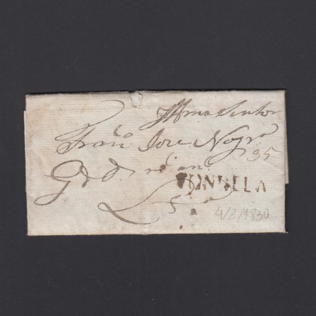 Pré-Filatélica circulada de Tondela para Lisboa datada 04-02-1830