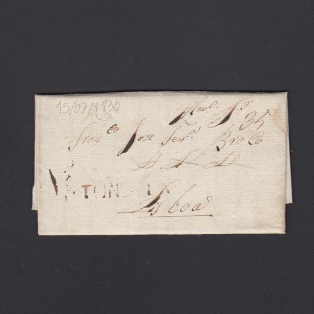 Pré-Filatélica circulada de Tondela para Lisboa datada 15-07-1830