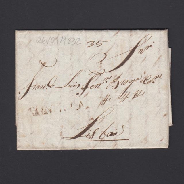 Pré-Filatélica circulada de Tondela para Lisboa datada 26-01-1832