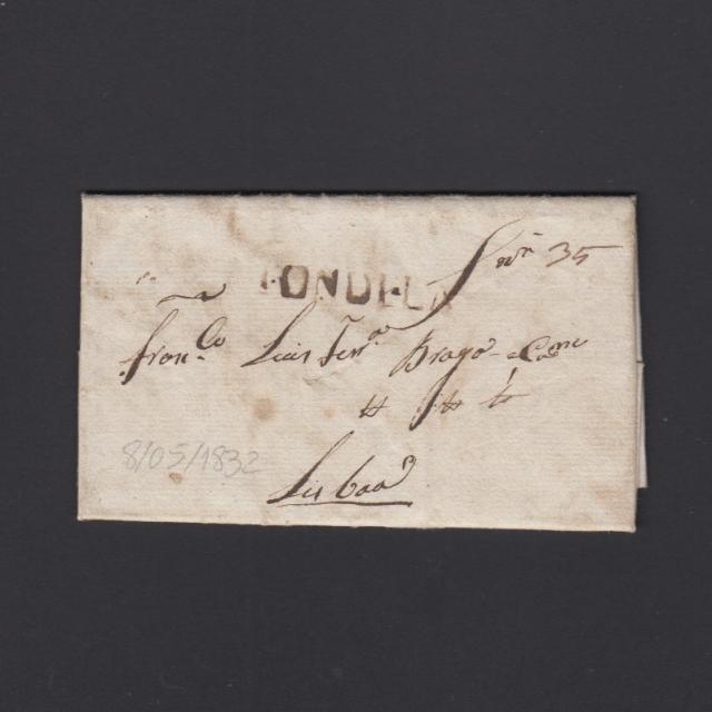 Pré-Filatélica circulada de Tondela para Lisboa datada 08-05-1832