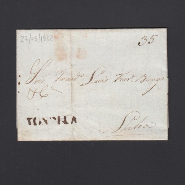 Pré-Filatélica circulada de Tondela para Lisboa datada 27-05-1832