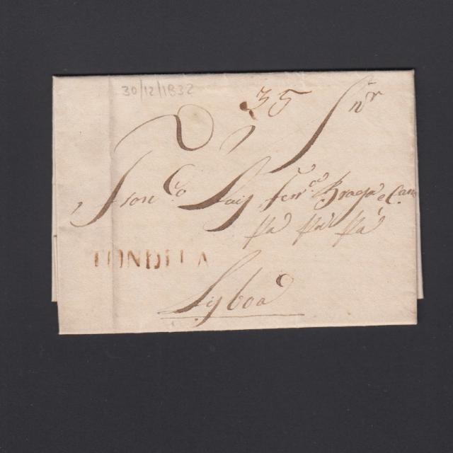 Pré-Filatélica circulada de Tondela para Lisboa datada 30-12-1832
