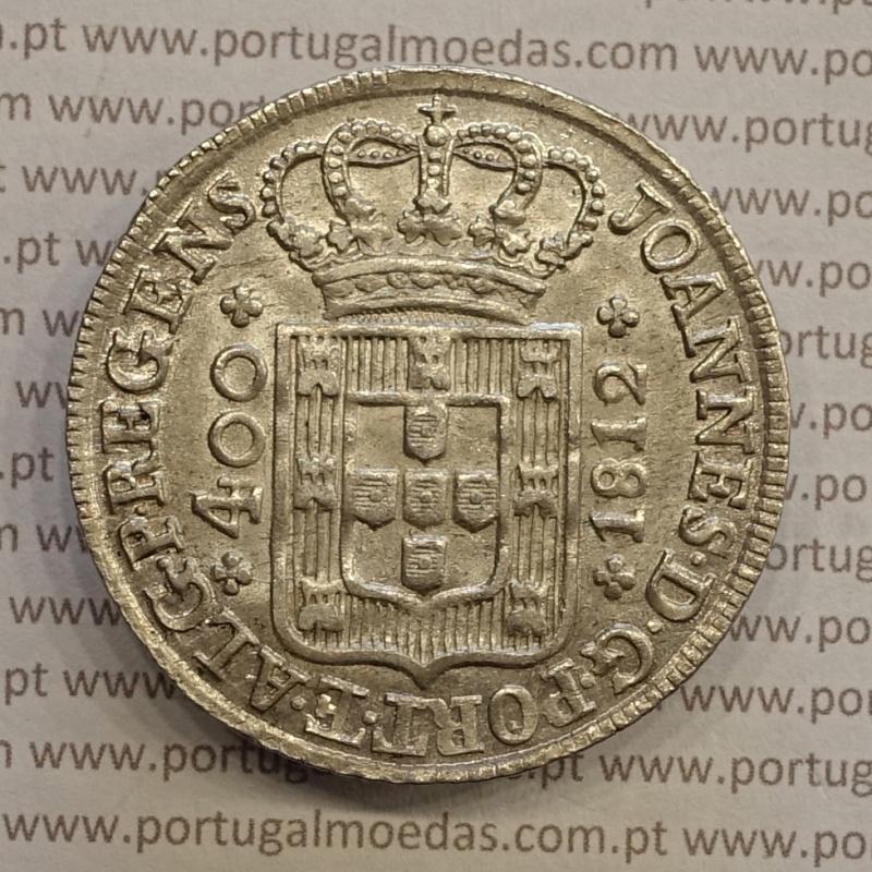 MOEDA CRUZADO NOVO PRATA (480 RÉIS) 1812 DIADEMA LOZANGO 4 PONTOS (BELA/SOB) - D. JOÃO PRÍNCIPE REGENTE