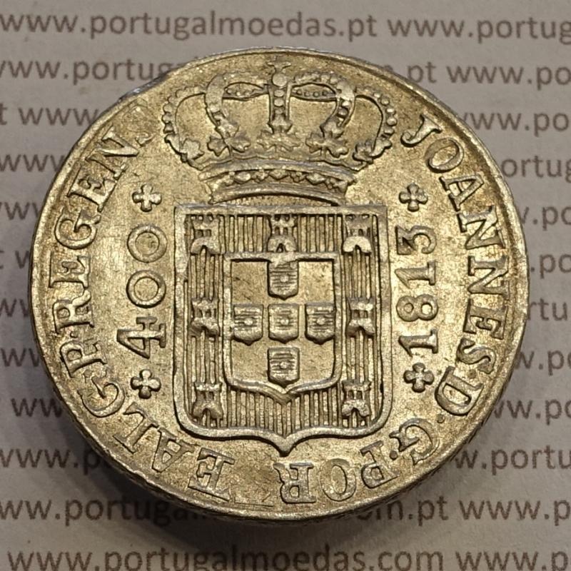 MOEDA CRUZADO NOVO PRATA (480 RÉIS) 1813 DIADEMA LOZANGO 4 PONTOS (BELA-) - D. JOÃO PRÍNCIPE REGENTE