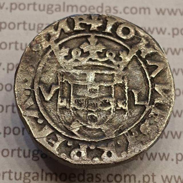 """MOEDA TOSTÃO PRATA (1521 A 1557) D. JOÃO III - 1º TIPO - """"V-L"""" ...GINE """"NN""""INVERTIDOS"""