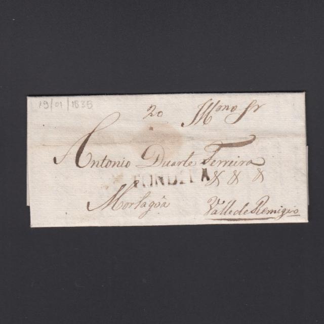 Pré-Filatélica circulada de Tondela para Vale Remigio datada 19-01-1838