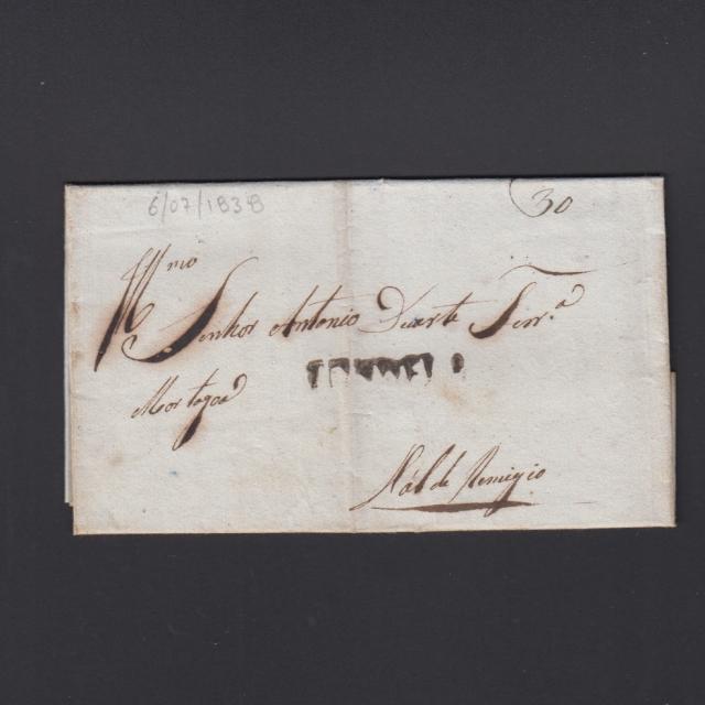 Pré-Filatélica circulada de Tondela para Vale Remigio datada 06-07-1838