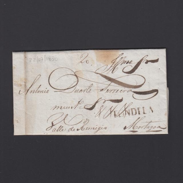 Pré-Filatélica circulada de Tondela para Vale Remigio datada 22-07-1838