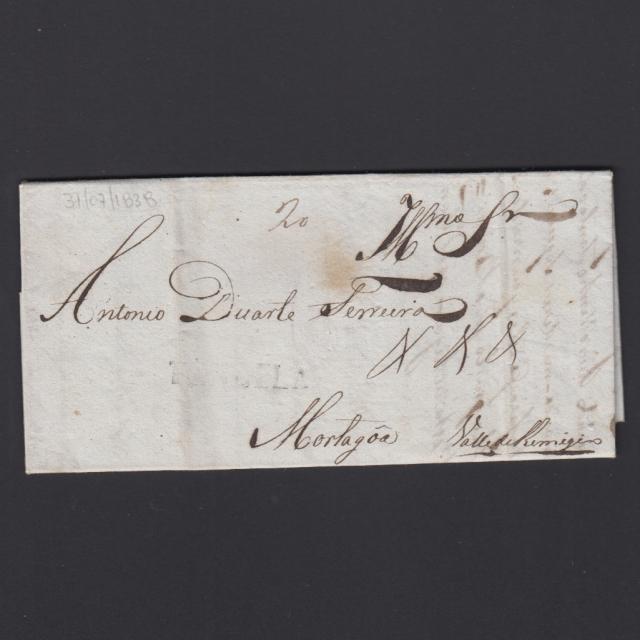 Pré-Filatélica circulada de Tondela para Vale Remigio datada 31-07-1838