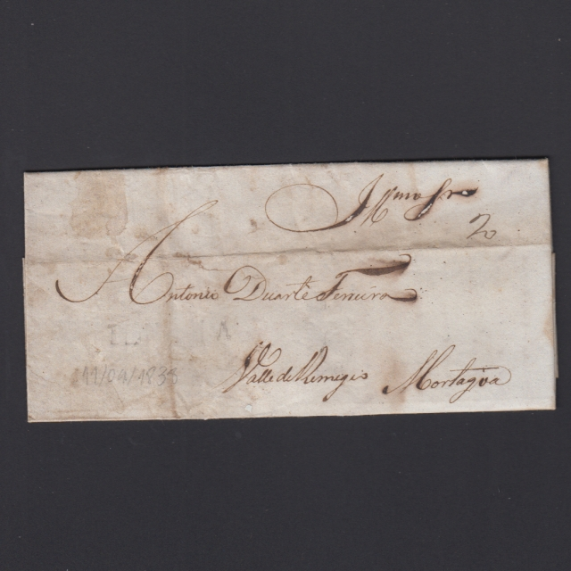 Pré-Filatélica circulada de Tondela para Vale Remigio datada 11-09-1838