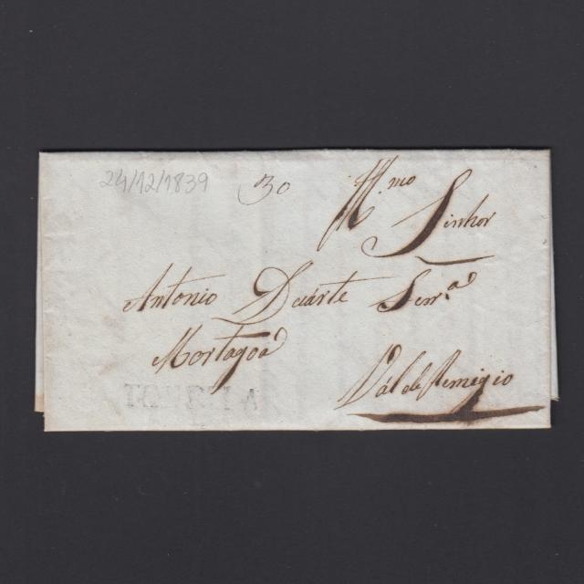 Pré-Filatélica circulada de Tondela para Vale de Remigio datada 24-12-1839