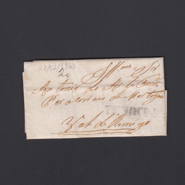 Pré-Filatélica circulada de Tondela para Vale de Remigio datada 27-08-1840