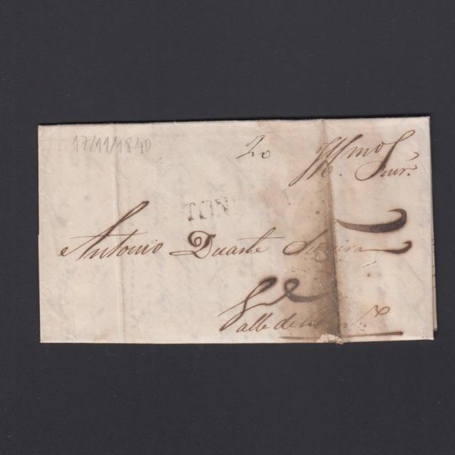 Pré-Filatélica circulada de Tondela para Vale de Remigio datada 17-11-1840