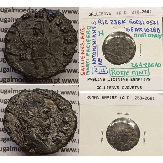 GALLIENUS - ANTONINIANO - GALLIENVS AVG / MARTI PACIFERO (264-266 d.C) (253 d.C A 268 d.C