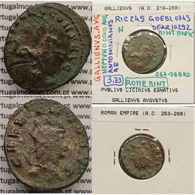 GALLIENUS - ANTONINIANO - GALLIENVS AVG / NEPTVNO CONS AVG (267-268 d.C) (253 d.C A 268 d.C )
